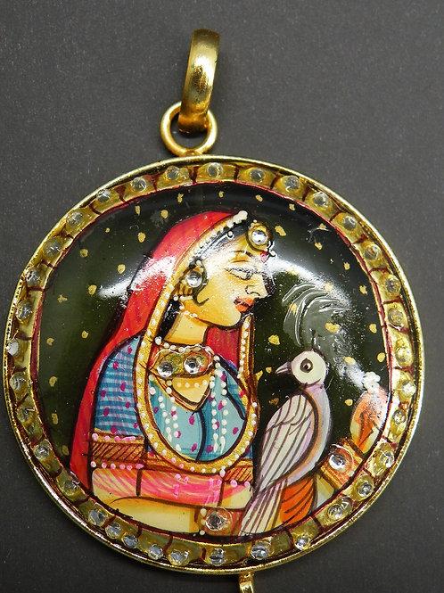 """Hand Painted""Radha (Miniature painting)  on Brass"