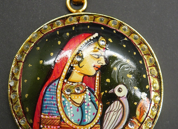 """Hand Painted""Radha (Miniature painting)  on Brass"