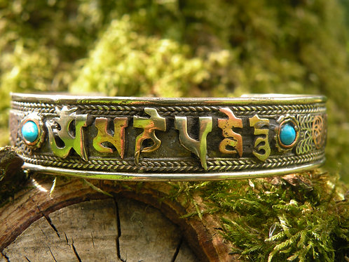 """Aum Mani Padme Hum""Copper,Silver,Brass Bracelet"