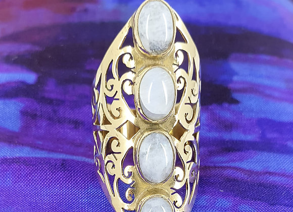 Statement Ring in Brass with Rainbow  Moonstone