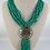 Thumbnail: Hand Beaded Necklace with Mosaic work in Brass and Turquoise