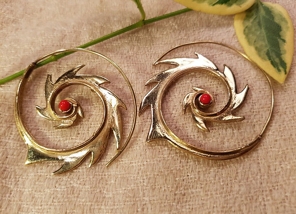 Spiral Fire Earring with Coral stone (Brass)