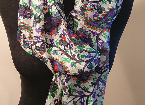 Fine Floral Print Silk Scarf  (Greens)