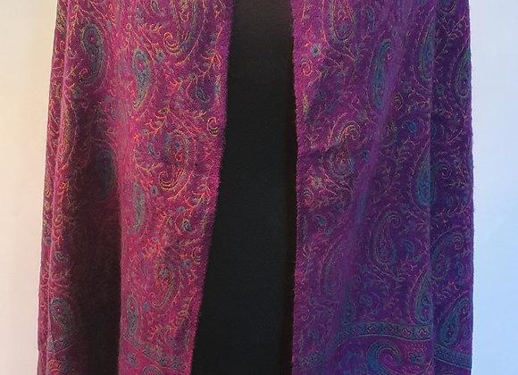 Large Double Sided Yak Woollen Shawl/Blanket ( Purple, Turquoise)