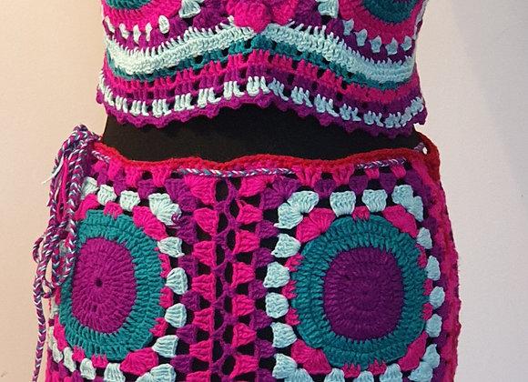 Crochet Skirt with Crop Top and a small cute little purse (Woollen)