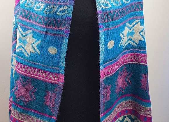 Large Double Sided Cosy Yak Woollen Shawl/Blanket (Turquoise,Pink)