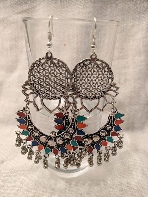 Multicolour Flower of life earrings