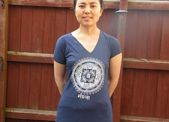 Mandala Womens T- shirt Blue long