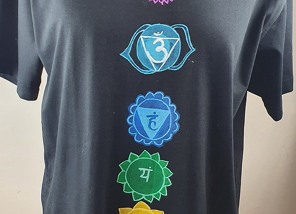 "Hand Painted ""Seven Chakra"" on a cottonT-shirt"