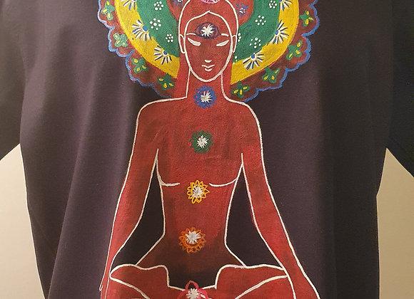 "Hand Painted:""Seven Chakra Meditation""on Cotton -T shirt"