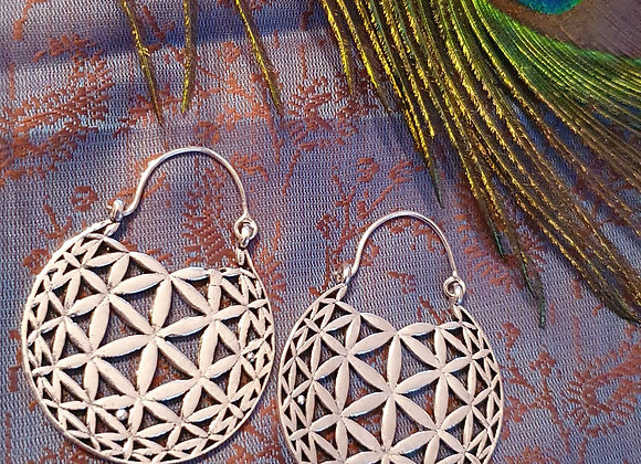 Flower Of Life Mandala Earrings(Silver Plated)