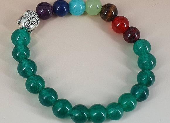 Seven Chakra Green Onyx  Healing Gemstone Bracelet.