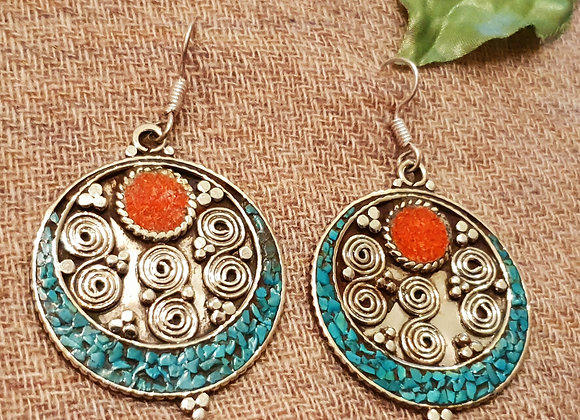 Circular Tibetan Earrings (Silver Plated)