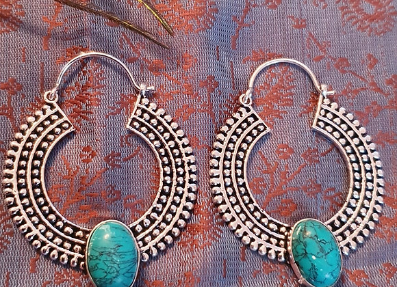 Hoop Earrings with Turquoise(Silver Plated)