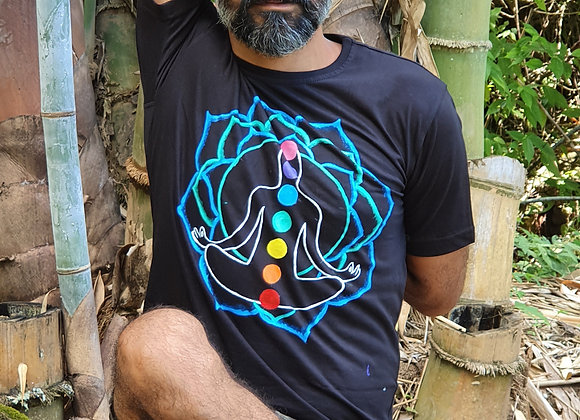 "Hand Painted:"" Seven Chakra Meditation Flower""on Cotton T-shirt"
