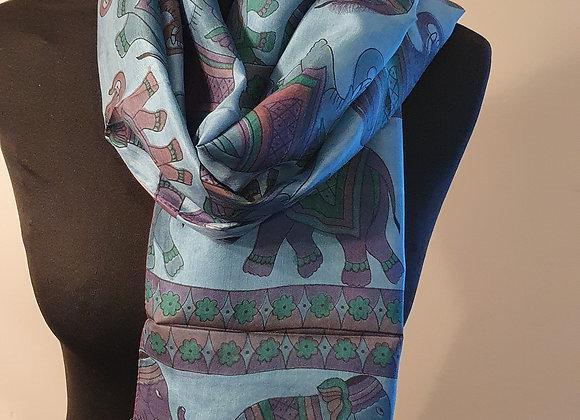 Fine Elephant Print Silk scarf (Turquoise)