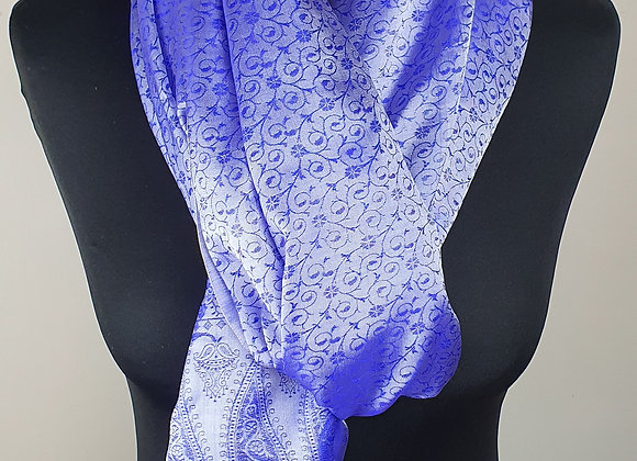 Large Crape Silk Floral Hand Weave (indigo ,White )