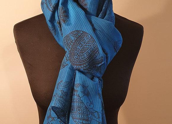 Large Raw Silk (Blue ,Turquoise)