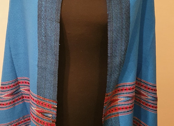 Large Double Sided Fine Woollen Himalayan Shawl/Blanket (Turquoise)