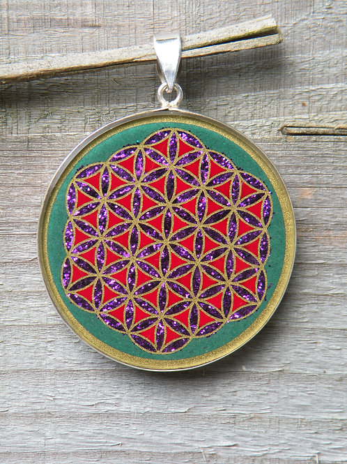 """Flower Of Life""On Pressed Green Jade St.Silver"