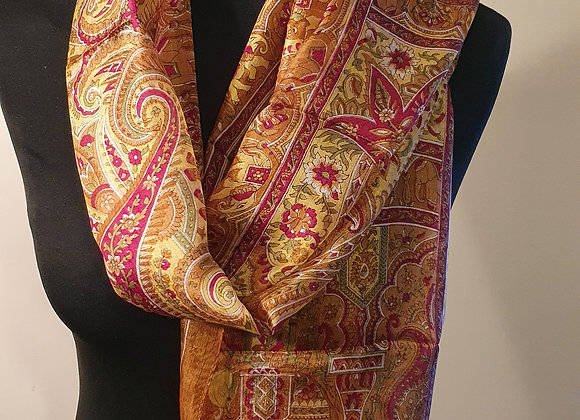 Fine Elephant Print Silk scarf  (Mustard)