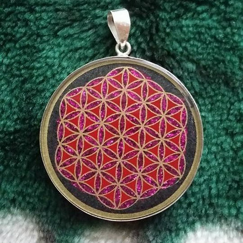 """""""Flower Of Life"""" Hand Painted On Pressed Black Onix St.Silver"""