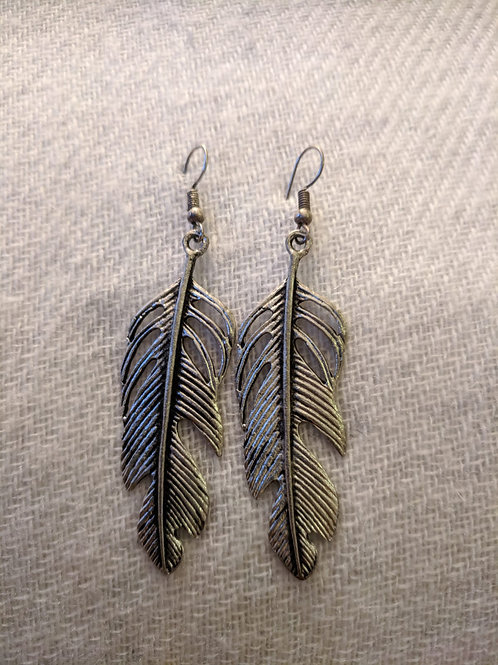 Antique finish feather earrings