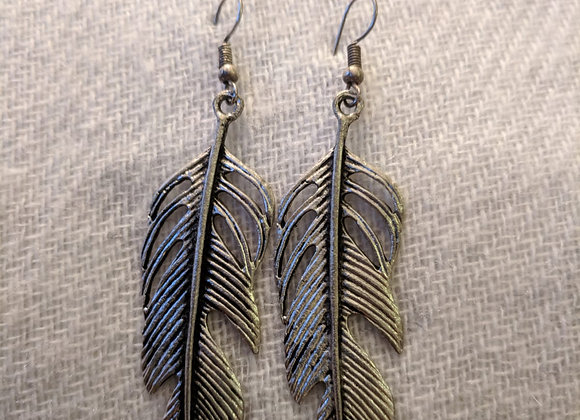 Feather Design (Silver Plated, Oxidized)