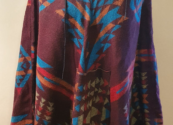 Yak Woollen Poncho (Mahogany, Turquoise)