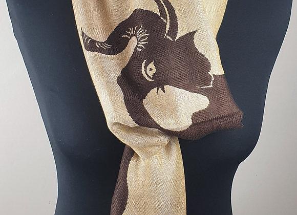 Elephant Print Designer Pashmina Stole (Brown)