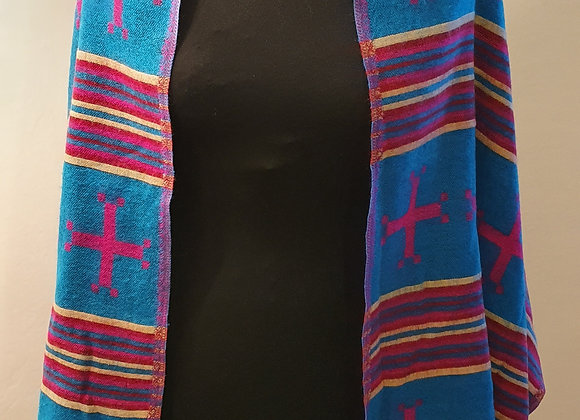 Large Double Sided Cosy Yak Woollen Shawl/Blanket (Turquoise, Pink)