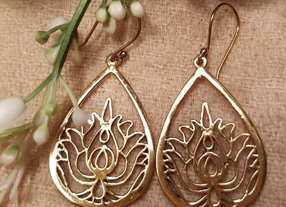Lotus Tear Drop (Brass Earring)