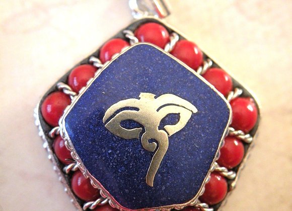 Coral Lapis Buddha Eyes Pendent (Silver Plated)