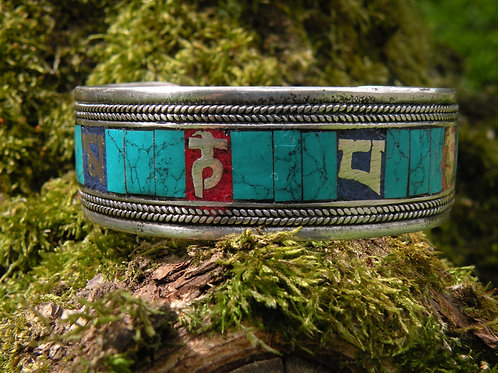 Silver Polished Turq,Coral and Lapis inlay Braclet