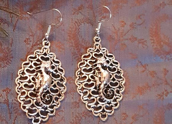 Sea Horse Earrings (Silver Plated)