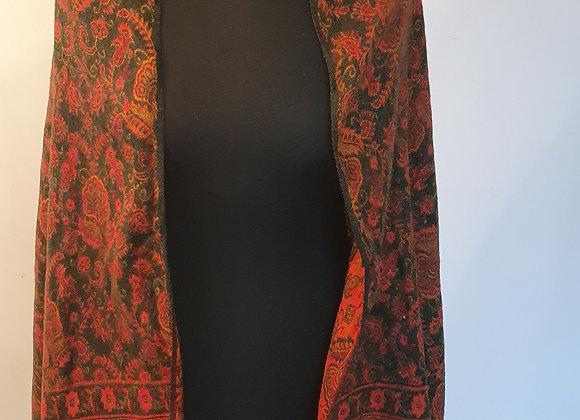 Large Double Sided Yak Woollen Shawl/Blanket (Orange,Green)
