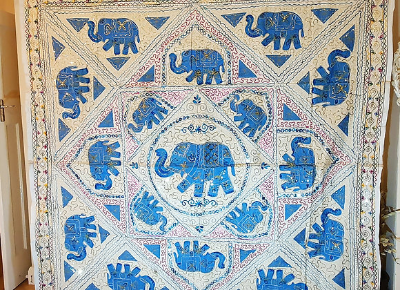 Elephant Turquoise Colour  Fabric Patch Wall Art
