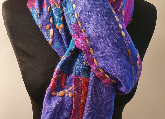 Double Sided Yak Woollen Stole, Hand Embroidered (Purple, Turquoise ,Red)