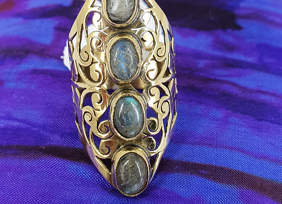Statement Ring in Brass with Labrodorite Gemstone