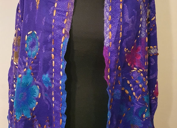 Large Double Sided Yak Woollen Stole, Hand Embroidered ( Purple ,Magenta,Brown)