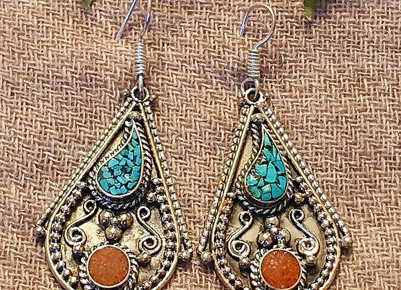 Drop Tibetan Earrings (Silver Plated)