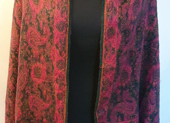 Large Double Sided Yak Woollen Shawl/Blanket ( Deep Pink,Green)