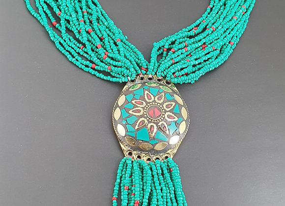 Hand Beaded Necklace with Mosaic work in Brass and Turquoise