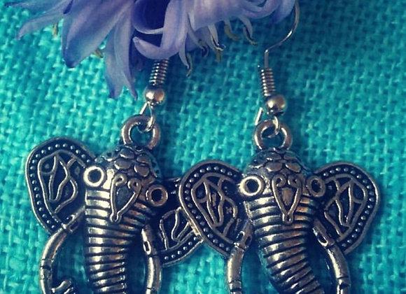 Elephant Earrings ( Silver Plated, Oxidized) )