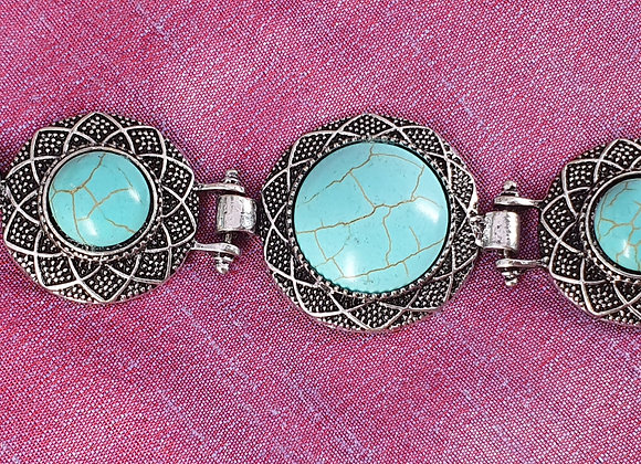 Antique finished Silver Plated Turquoise Bracelet