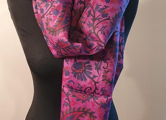 Fine Floral Print Silk scarf (Purple ,magenta)