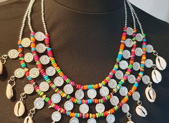 Stunning Hand beaded Colourful Wooden Necklace