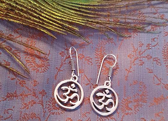 Aum Earrings (Silver Plated)