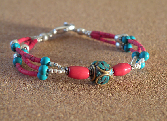 Turquoise and Coral Bracelets With Silver Plated beads