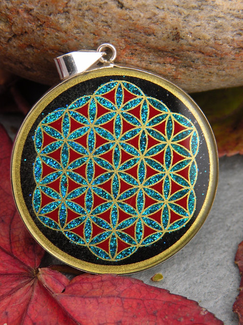 """Flower Of Life"" hand painted in St.Silver Black Onix"